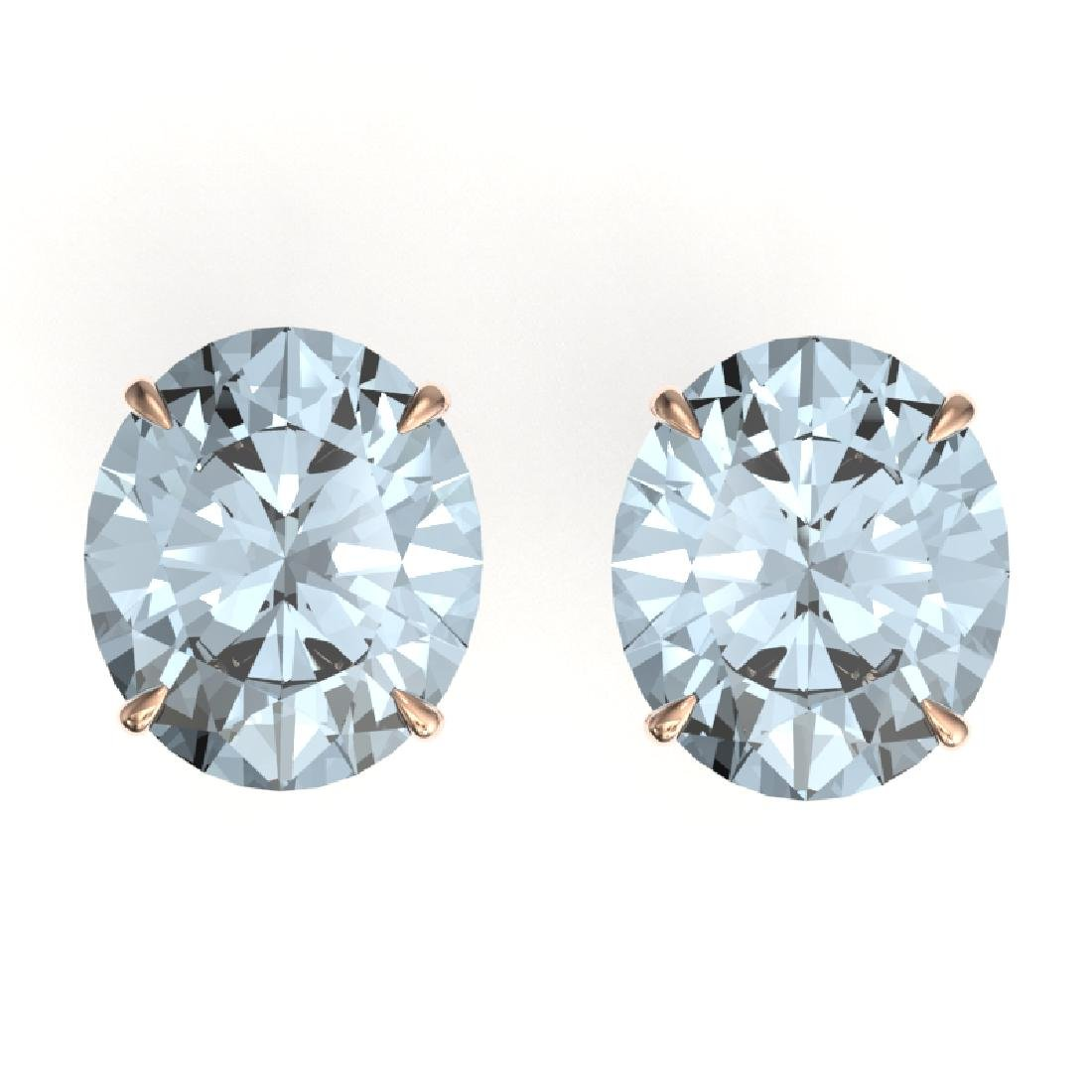 18 CTW Sky Blue Topaz Designer Solitaire Stud Earrings