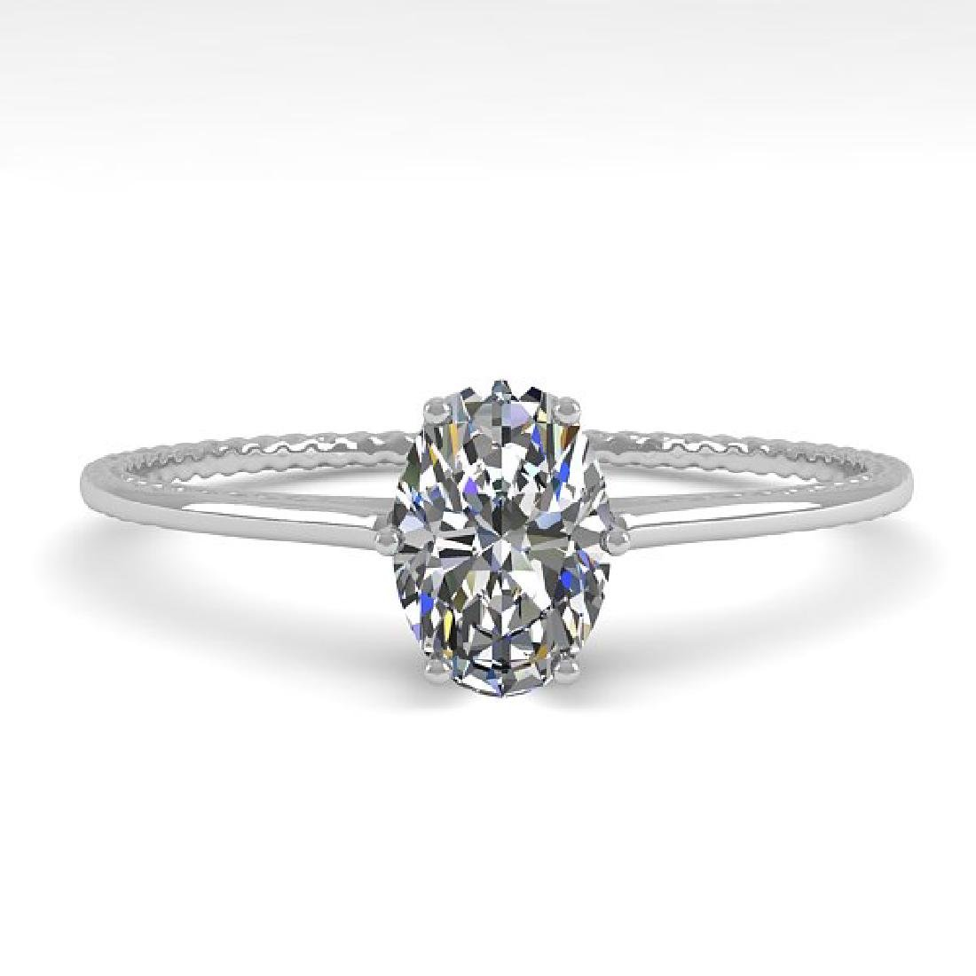 1.0 CTW VS/SI Oval Cut Diamond Art Deco Ring 14K White