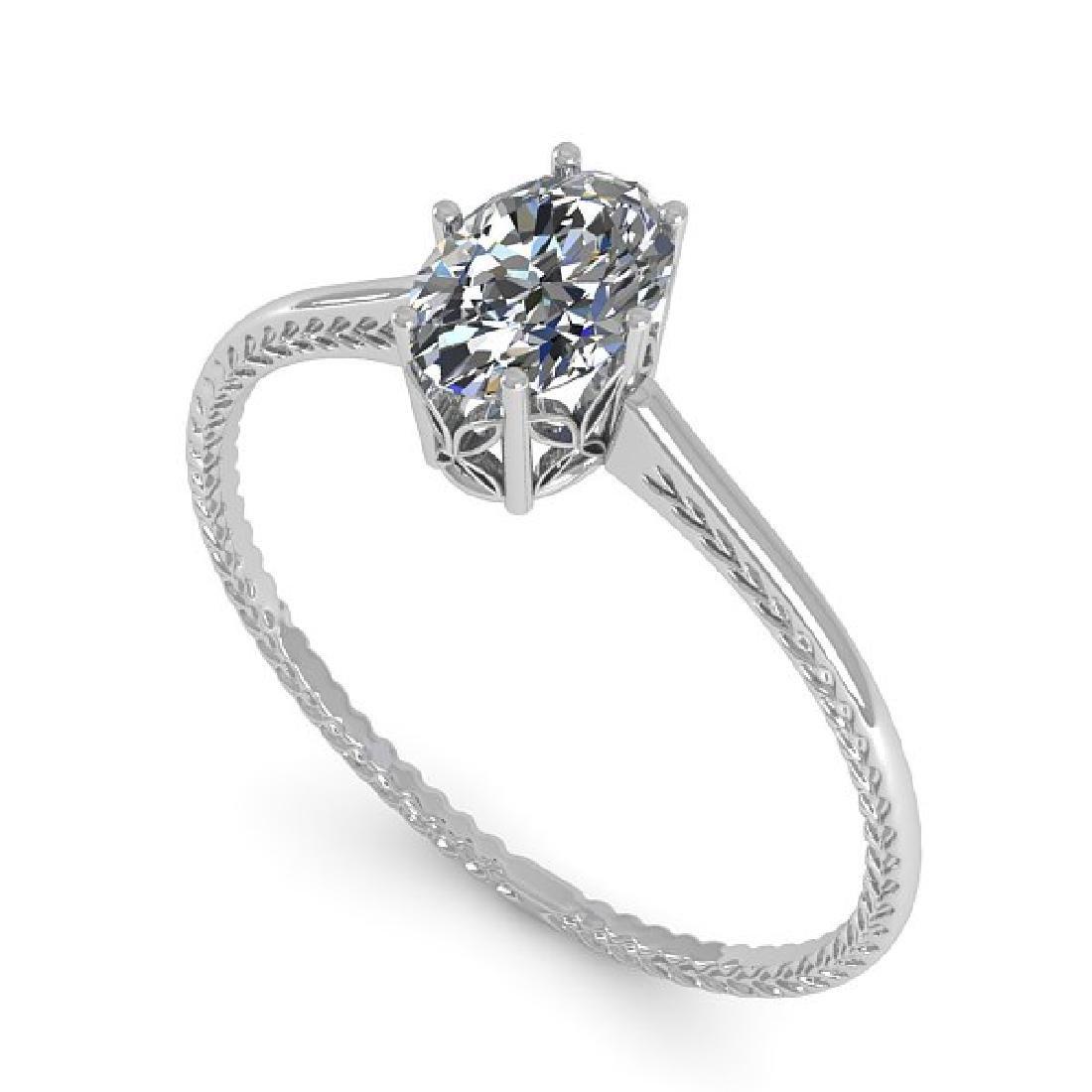 1.0 CTW VS/SI Oval Cut Diamond Art Deco Ring 14K White - 2
