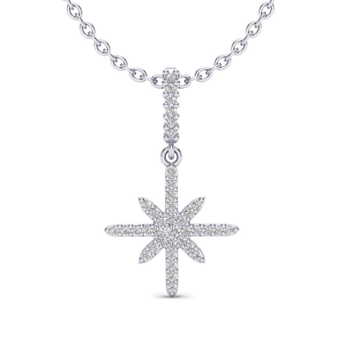 0.38 CTW Micro Pave VS/SI Diamond Necklace 18K White