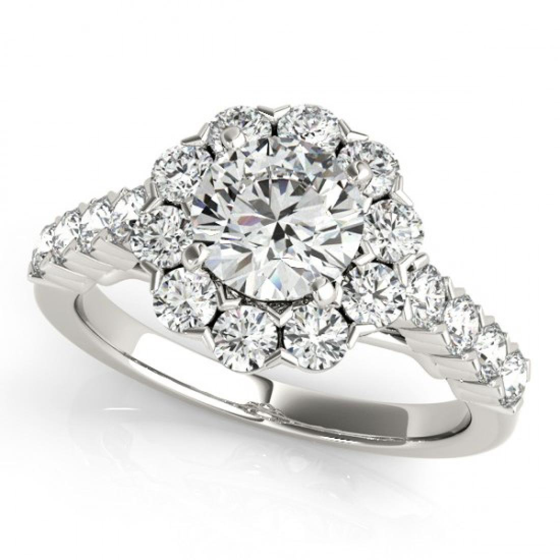 2.1 CTW Certified VS/SI Diamond Solitaire Halo Ring 14K