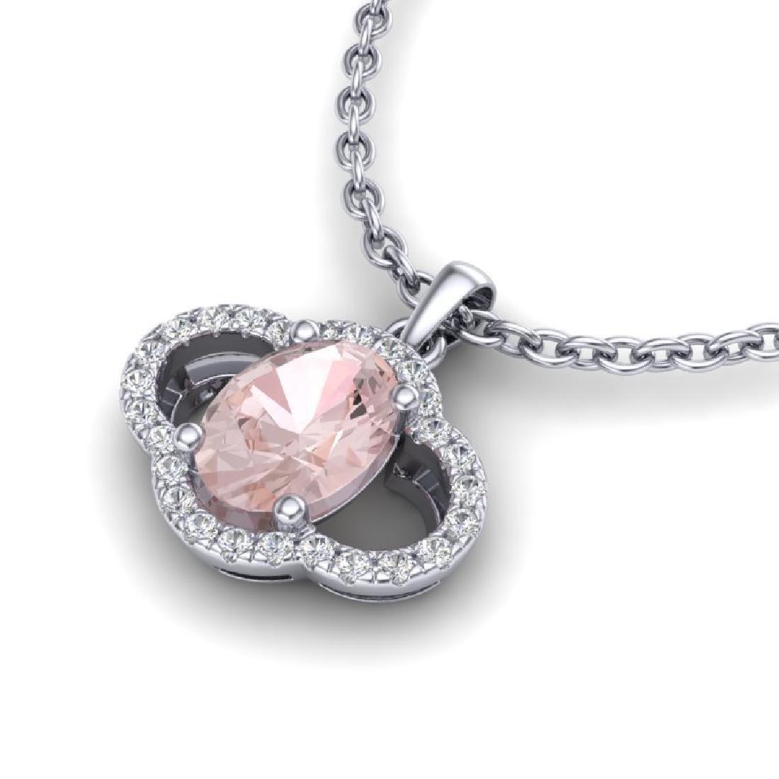 1.75 CTW Morganite & Micro Pave VS/SI Diamond Necklace - 2