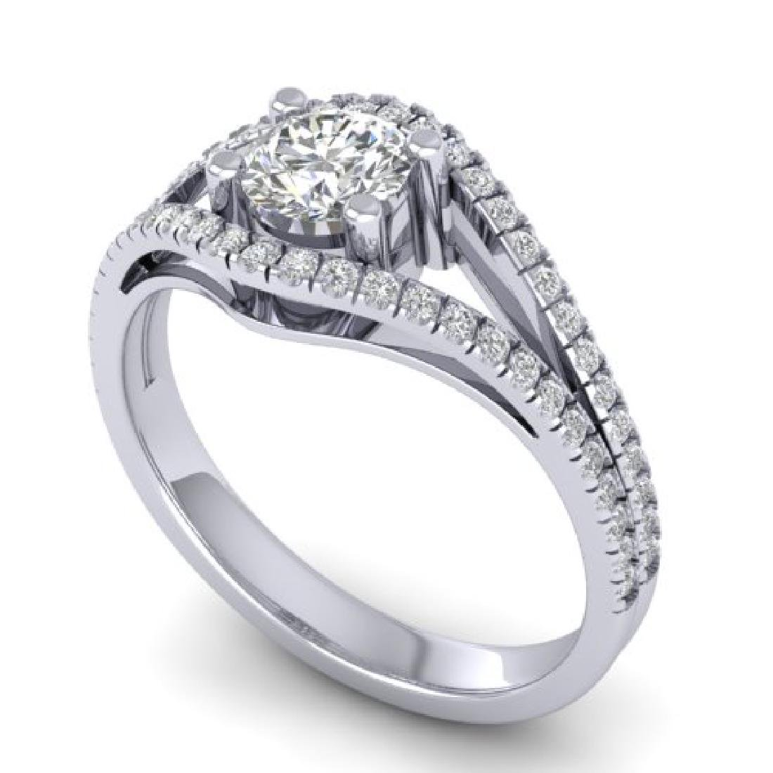 1.05 CTW Certified VS/SI Diamond Art Deco Ring 18K - 2