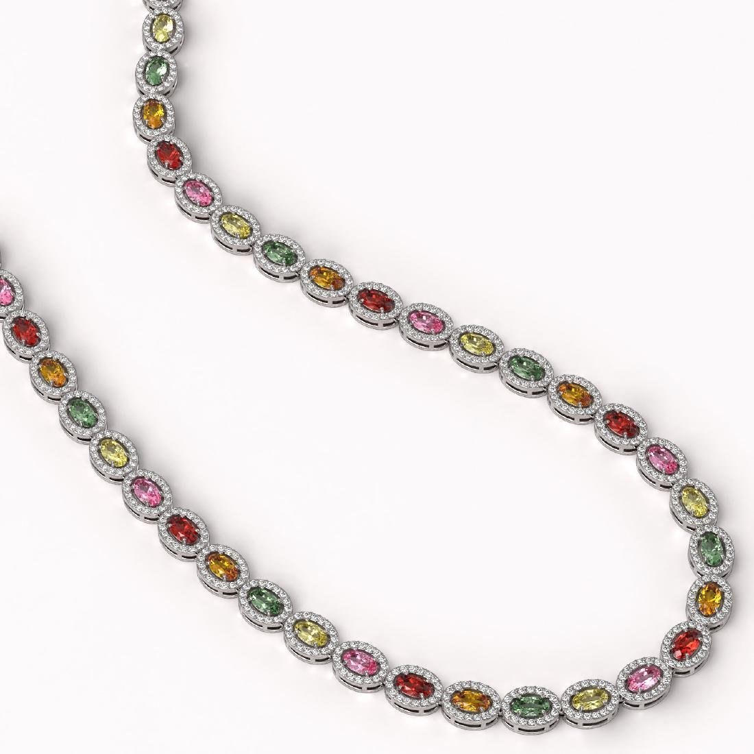 22.62 CTW Multi Color Sapphire & Diamond Halo Necklace - 2