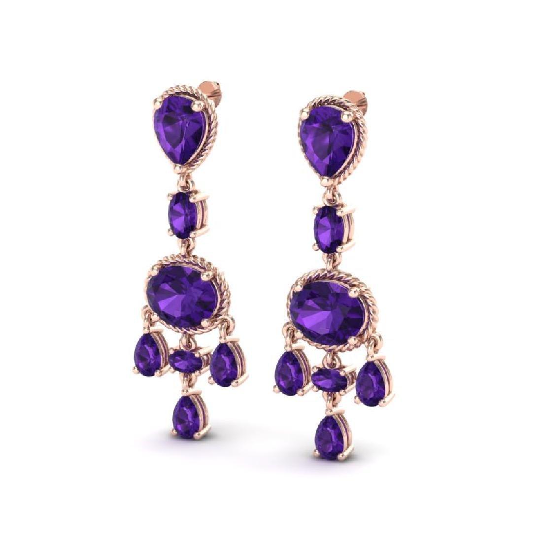 16 CTW Amethyst Earrings Designer Vintage 10K Rose Gold