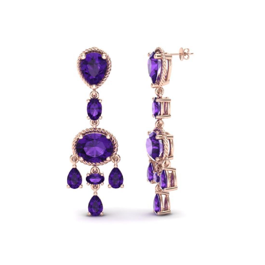 16 CTW Amethyst Earrings Designer Vintage 10K Rose Gold - 2