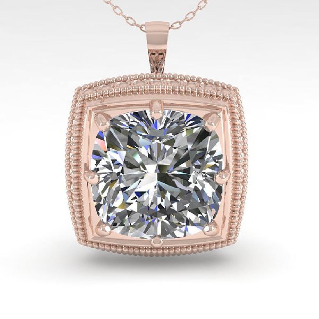 1 CTW VS/SI Cushion Cut Diamond Solitaire Necklace 14K - 2