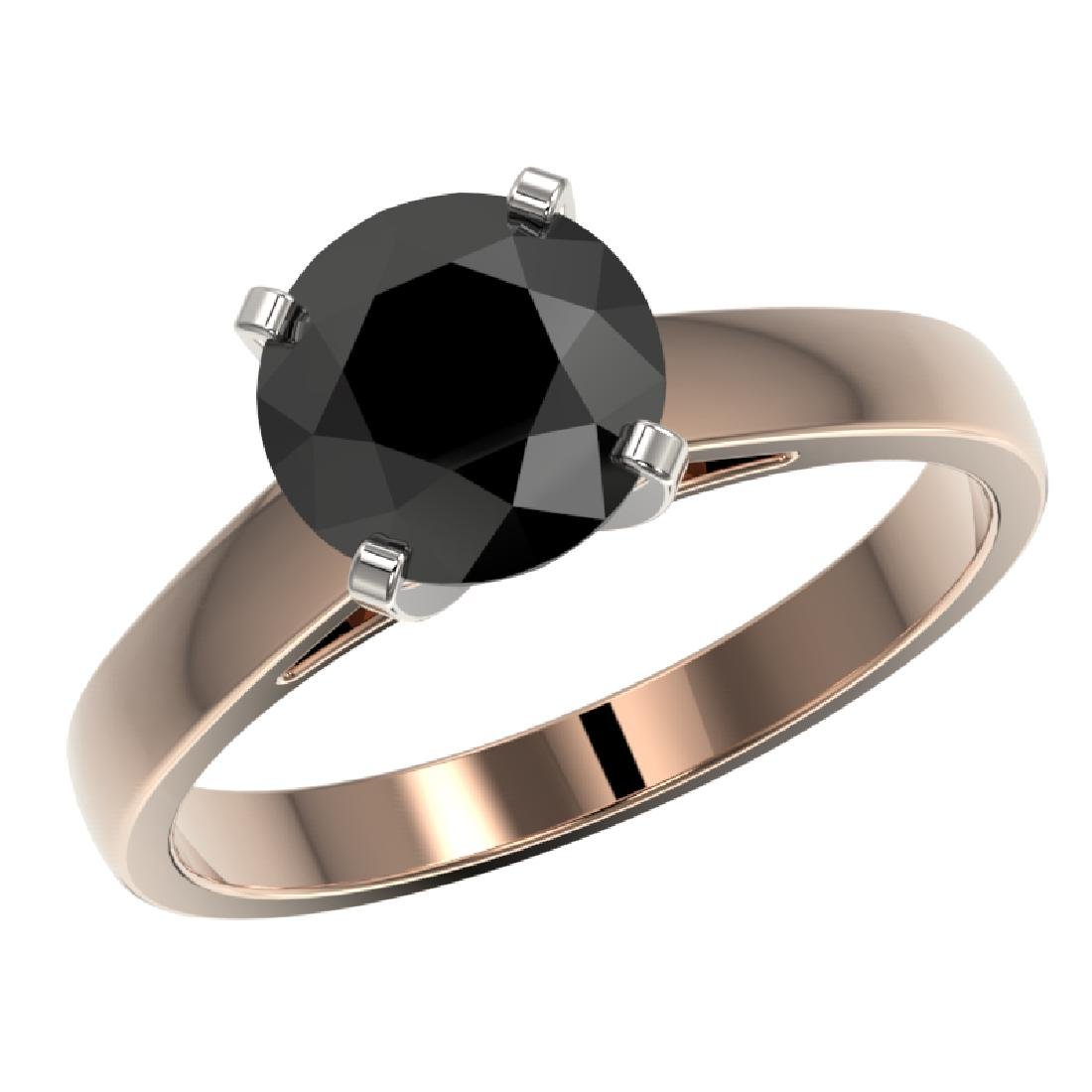 2 CTW Fancy Black VS Diamond Solitaire Engagement Ring - 2
