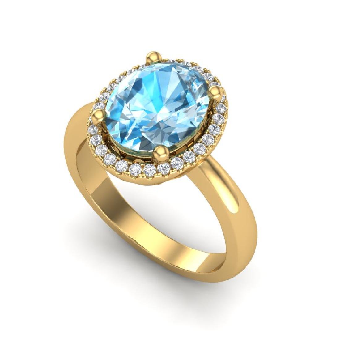 3 CTW Sky Blue Topaz & Micro Pave VS/SI Diamond Ring - 2