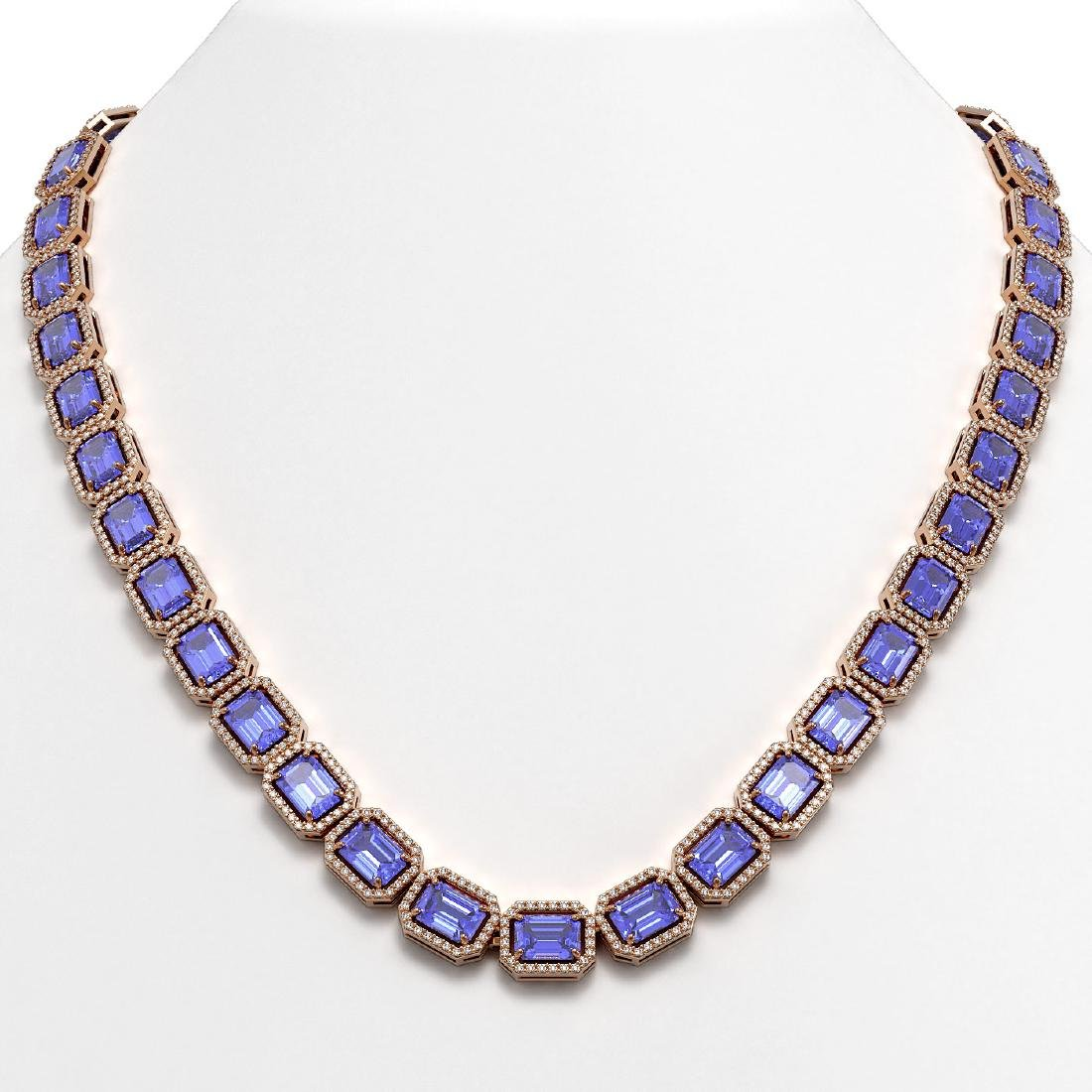 56.69 CTW Tanzanite & Diamond Halo Necklace 10K Rose