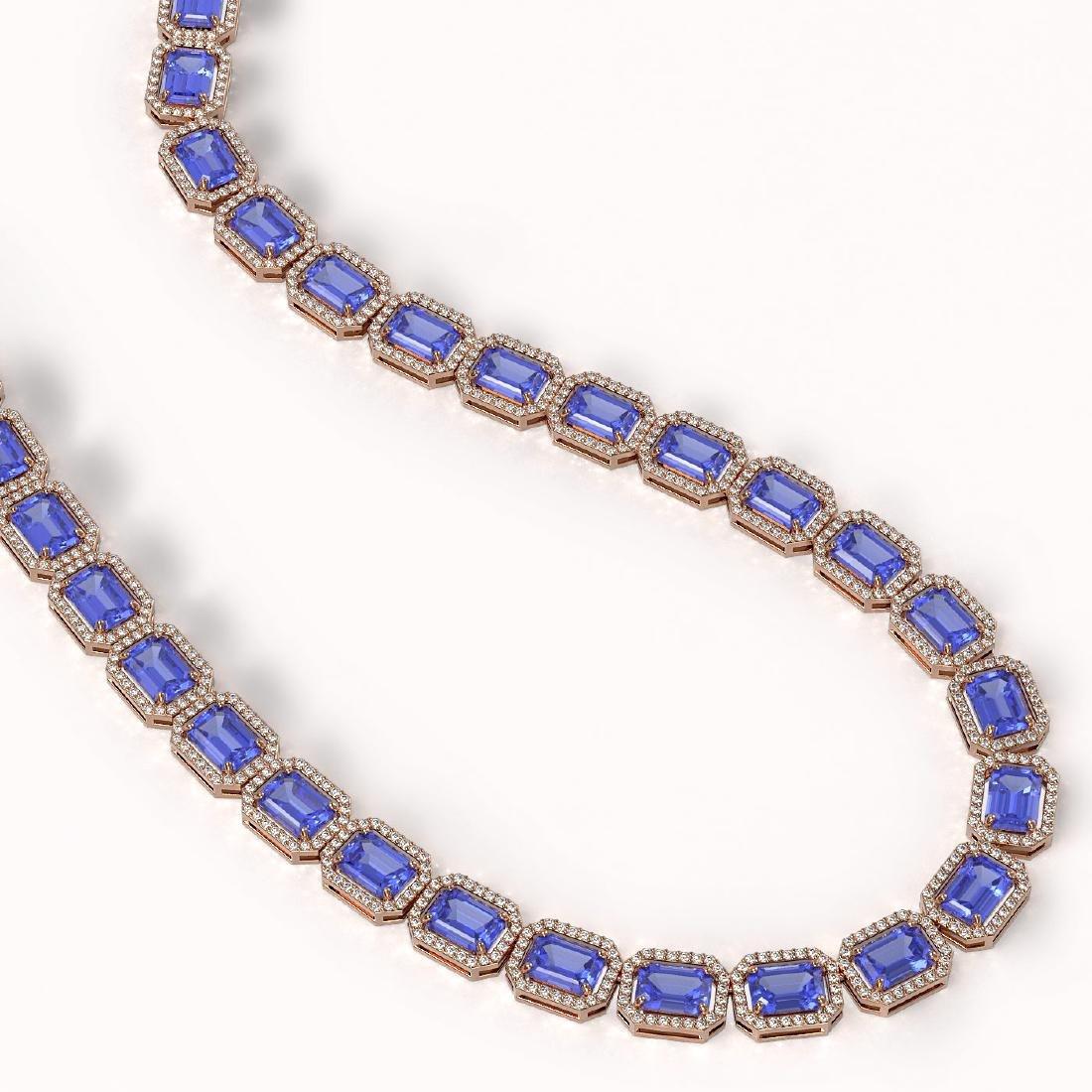 56.69 CTW Tanzanite & Diamond Halo Necklace 10K Rose - 2