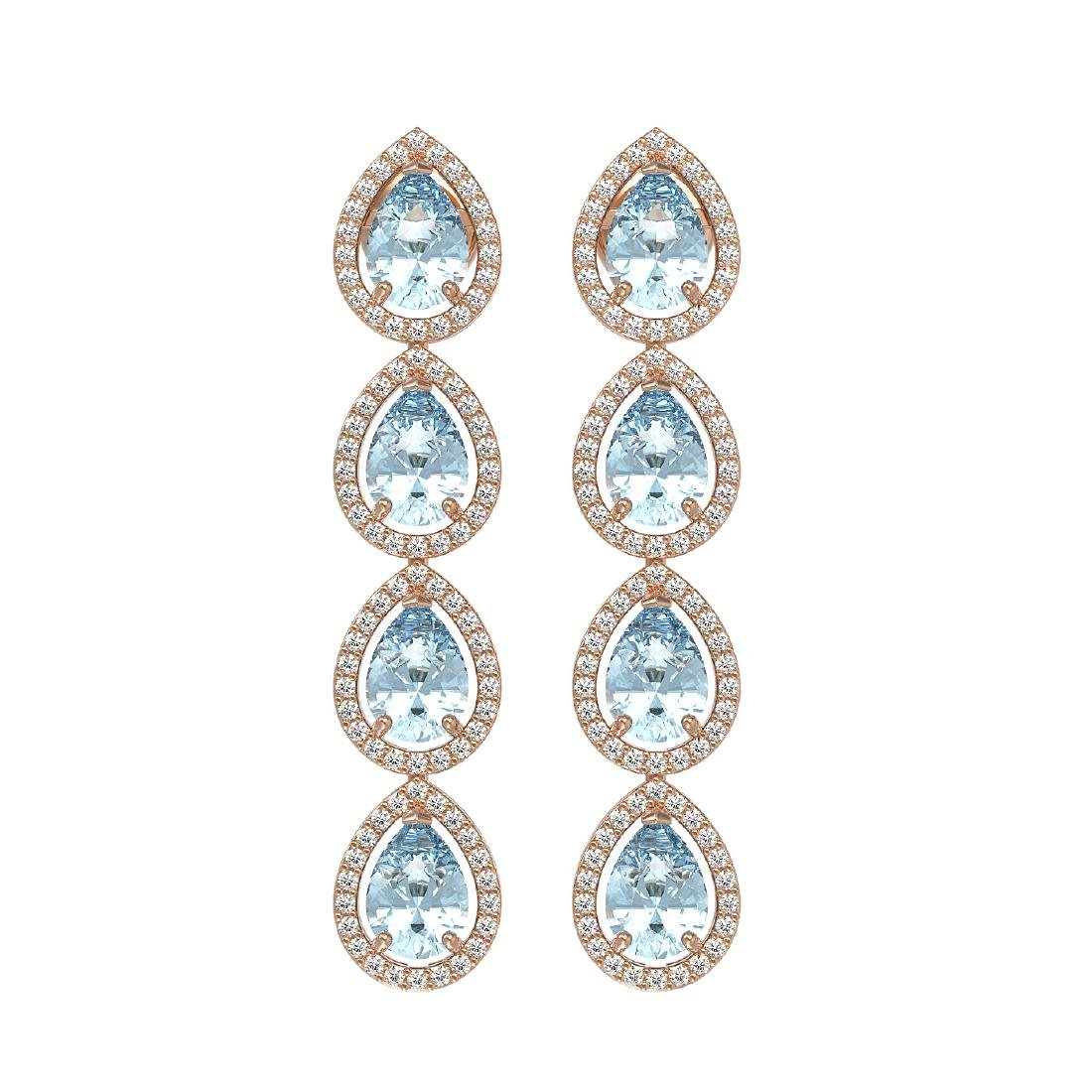 7.41 CTW Aquamarine & Diamond Halo Earrings 10K Rose