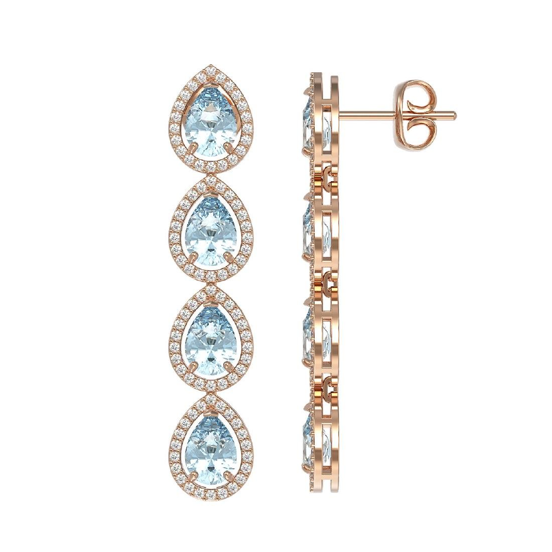 7.41 CTW Aquamarine & Diamond Halo Earrings 10K Rose - 2