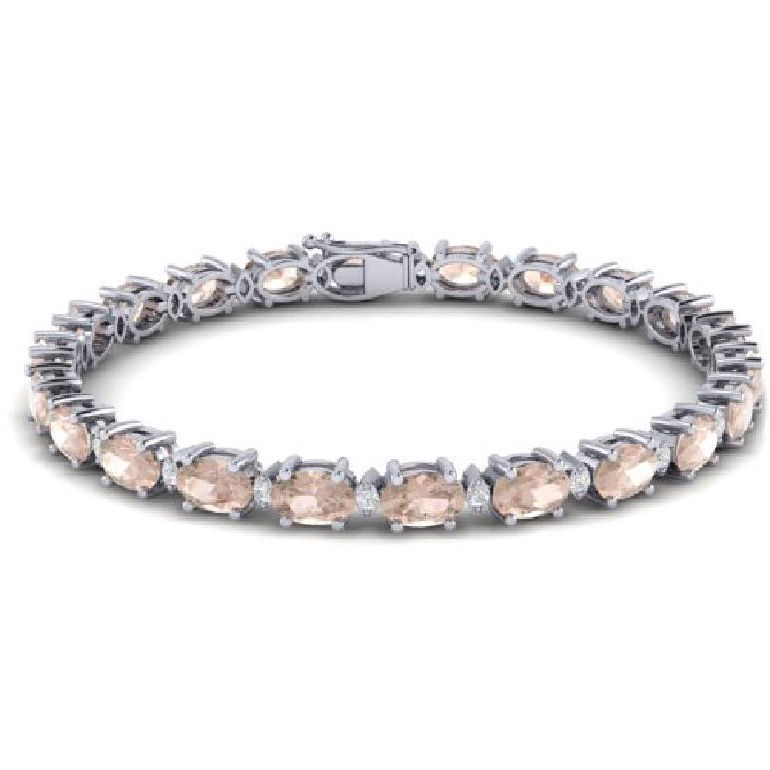 11 CTW Morganite & VS/SI Diamond Eternity Bracelet 10K - 2