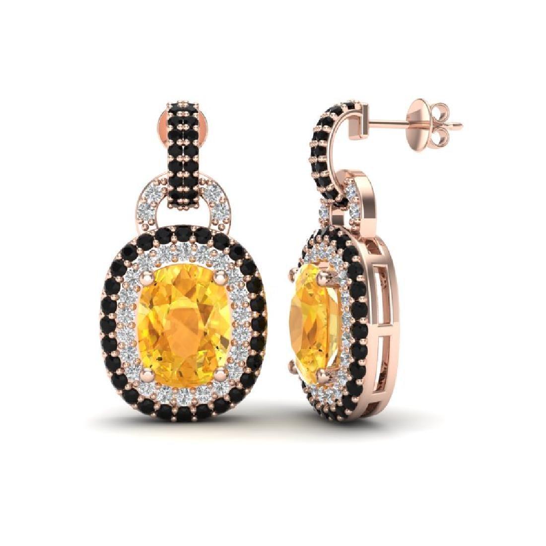 5 CTW Citrine & Black Micro Pave VS/SI Diamond Earrings - 2