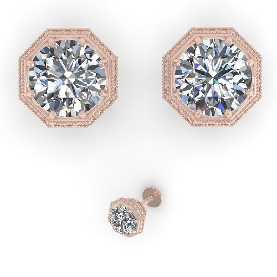 1.53 CTW VS/SI Diamond Stud Solitaire Earrings 14K Rose - 2