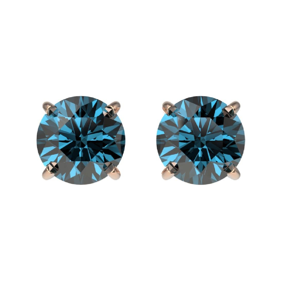 1.08 CTW Certified Intense Blue SI Diamond Solitaire