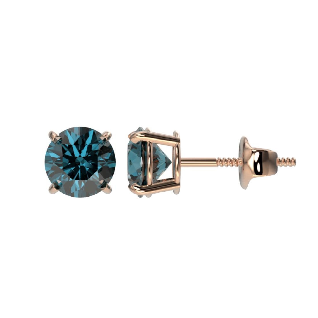 1.08 CTW Certified Intense Blue SI Diamond Solitaire - 2