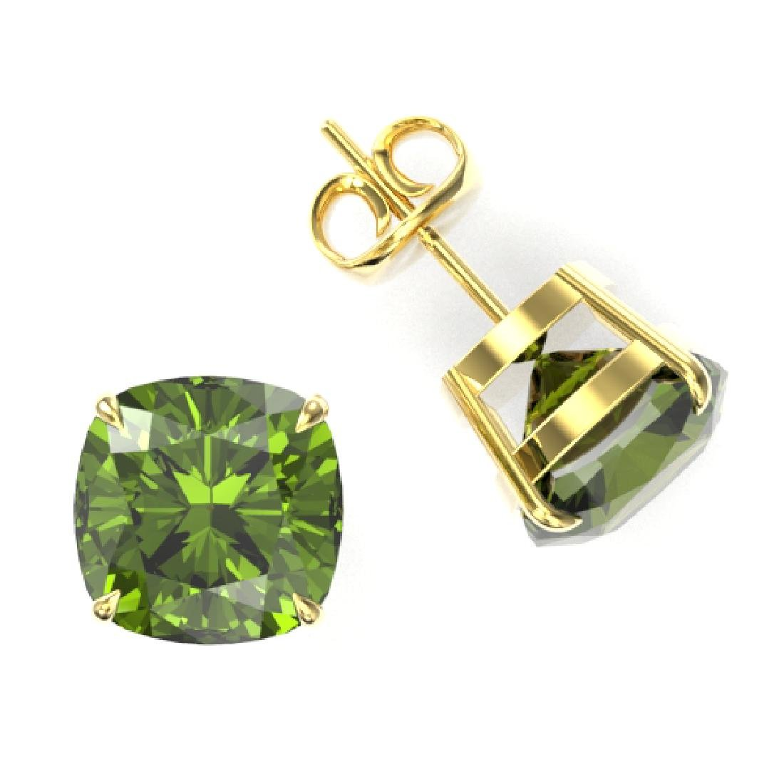 12 CTW Cushion Cut Green Tourmaline Designer Stud - 2