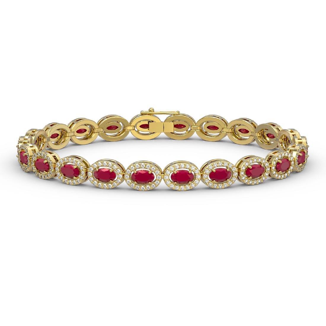 11.58 CTW Ruby & Diamond Halo Bracelet 10K Yellow Gold