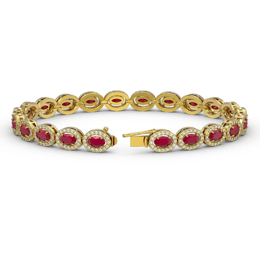 11.58 CTW Ruby & Diamond Halo Bracelet 10K Yellow Gold - 2