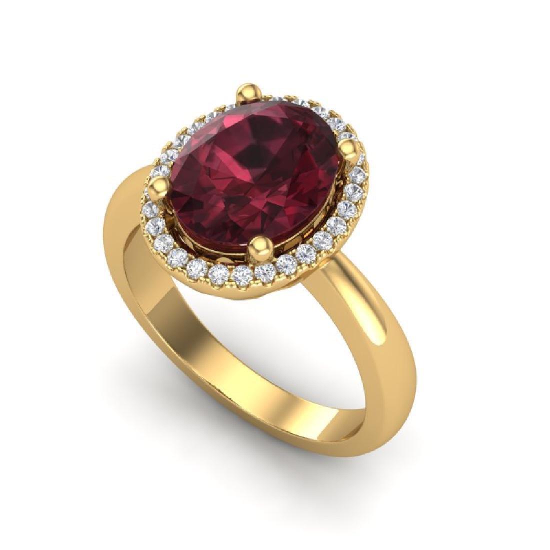 2.50 CTW Garnet And Micro Pave VS/SI Diamond Ring Halo - 2