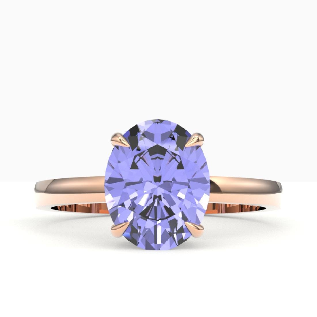 3.50 CTW Tanzanite Designer Inspired Solitaire Ring 14K