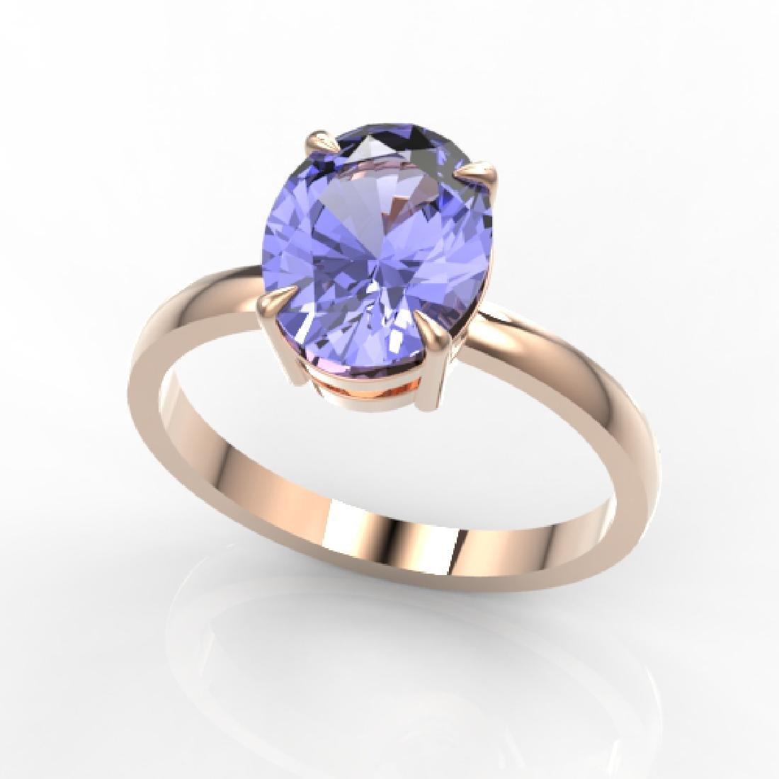 3.50 CTW Tanzanite Designer Inspired Solitaire Ring 14K - 2