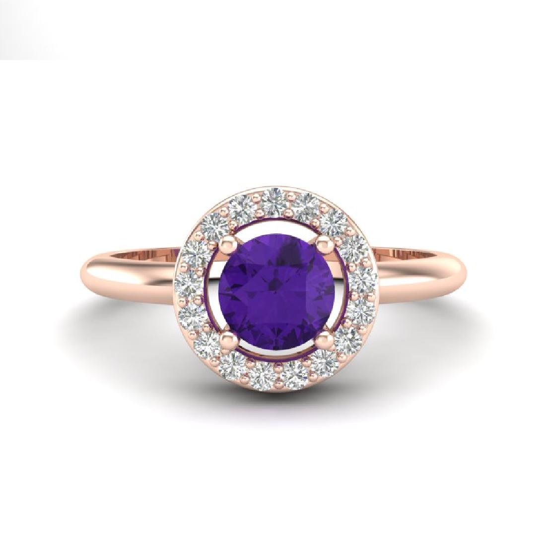 0.75 CTW Amethyst & Micro Halo VS/SI Diamond Ring 14K