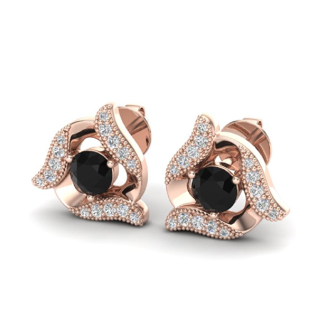 0.92 CTW Black & Micro Pave VS/SI Diamond Halo Earrings