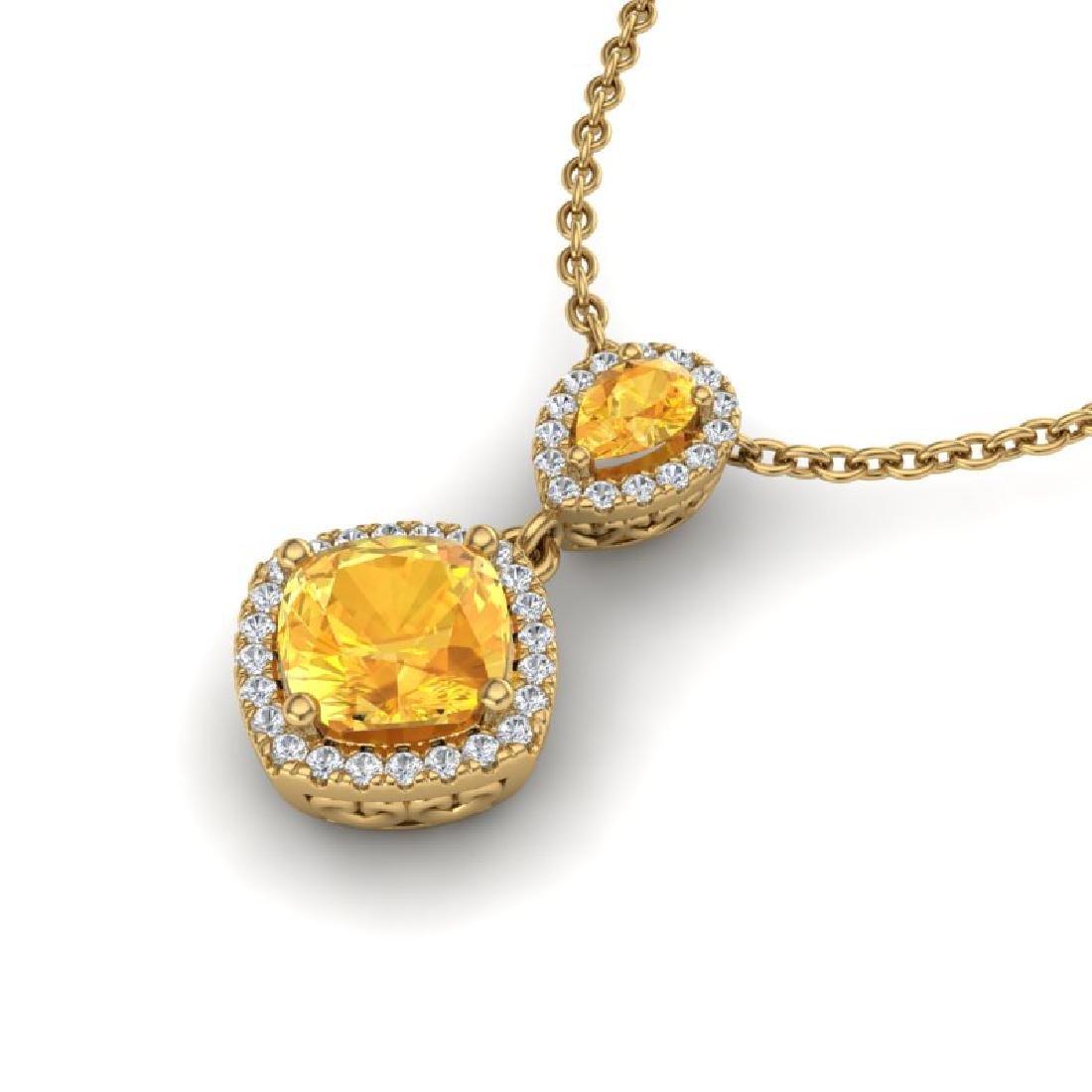 2.63 CTW Citrine & Micro VS/SI Diamond Necklace - 2