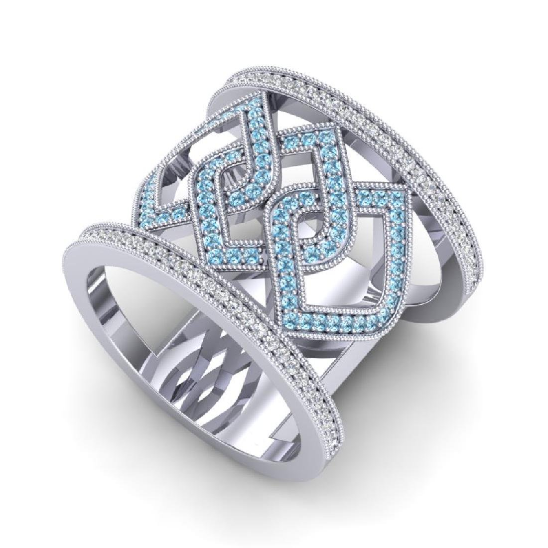0.90 CTW Ring Blue & White Micro Pave VS/SI Diamond