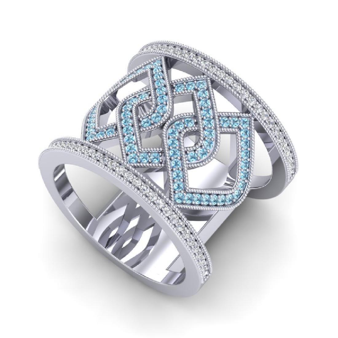 0.90 CTW Ring Blue & White Micro Pave VS/SI Diamond