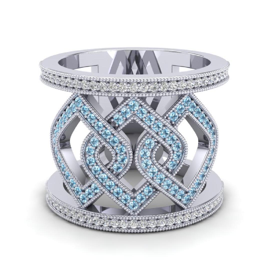 0.90 CTW Ring Blue & White Micro Pave VS/SI Diamond - 2