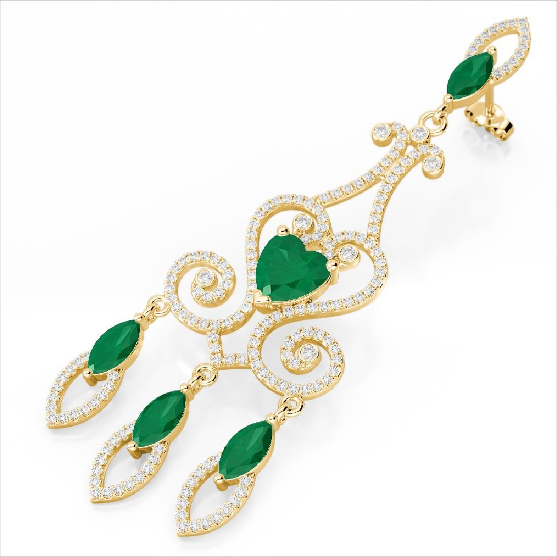 11 CTW Emerald & Micro Pave VS/SI Diamond Earrings 14K