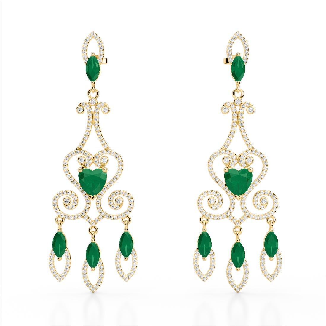 11 CTW Emerald & Micro Pave VS/SI Diamond Earrings 14K - 2