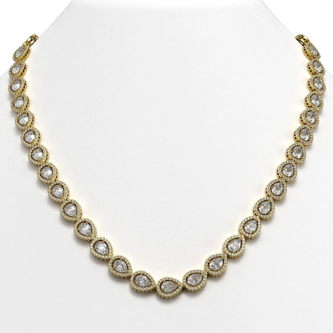 28.74 CTW Pear Diamond Designer Necklace 18K Yellow