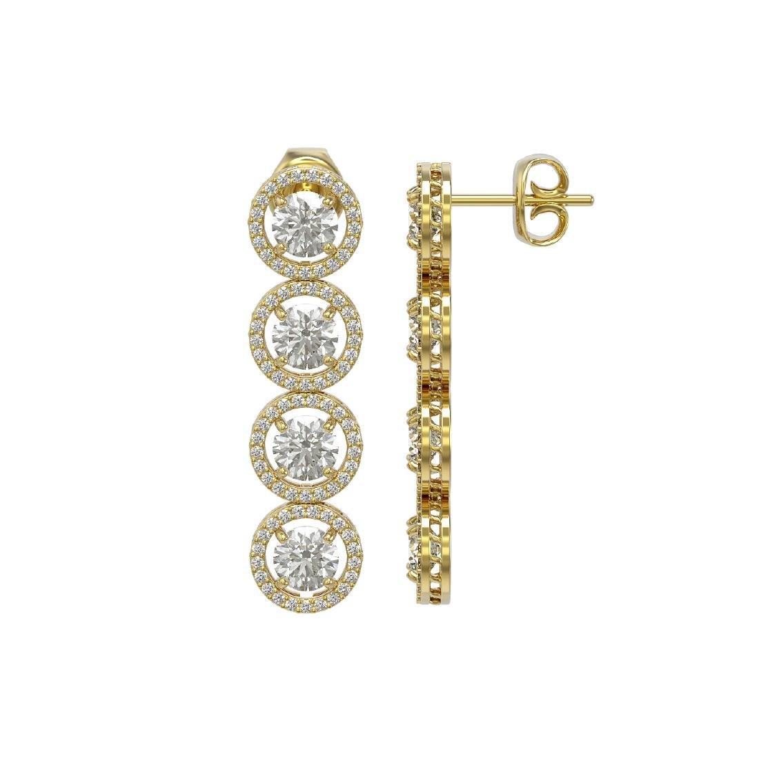 5.36 CTW Diamond Designer Earrings 18K Yellow Gold - 2