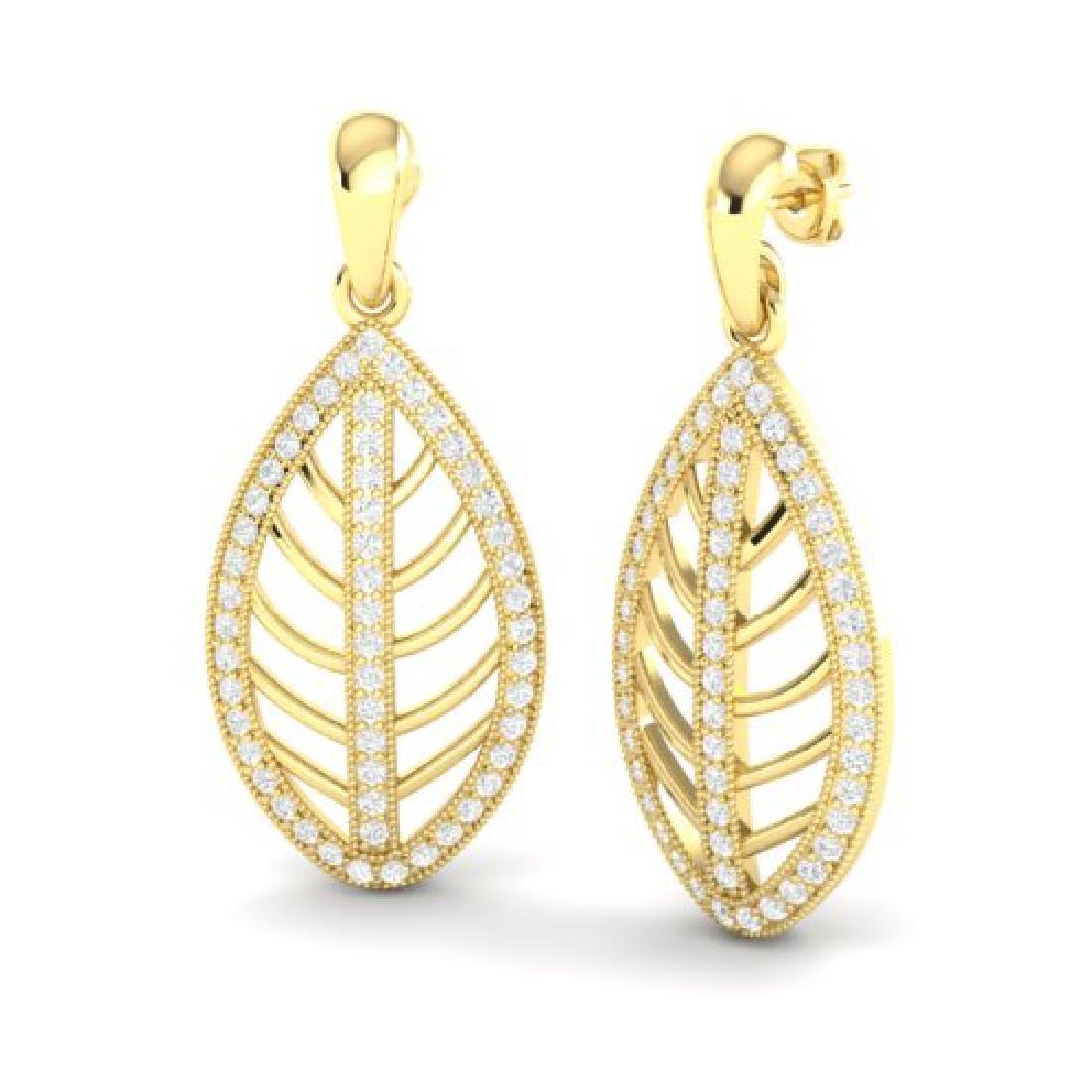 2 CTW Micro Pave VS/SI Diamond Designer Earrings 18K - 2