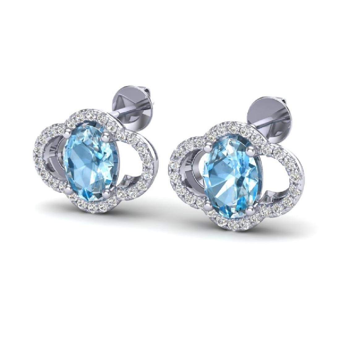 4 CTW Sky Blue Topaz & Micro Pave VS/SI Diamond