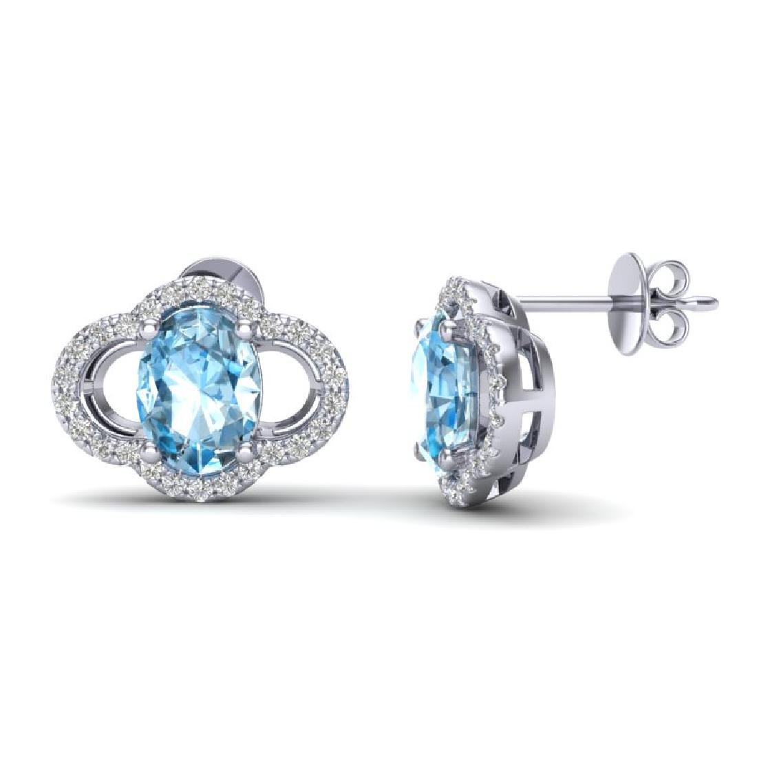 4 CTW Sky Blue Topaz & Micro Pave VS/SI Diamond - 2
