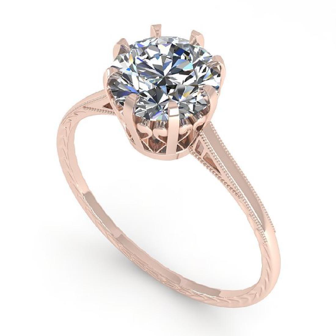 1.51 CTW Certified VS/SI Diamond Ring 14K Rose Gold - 2