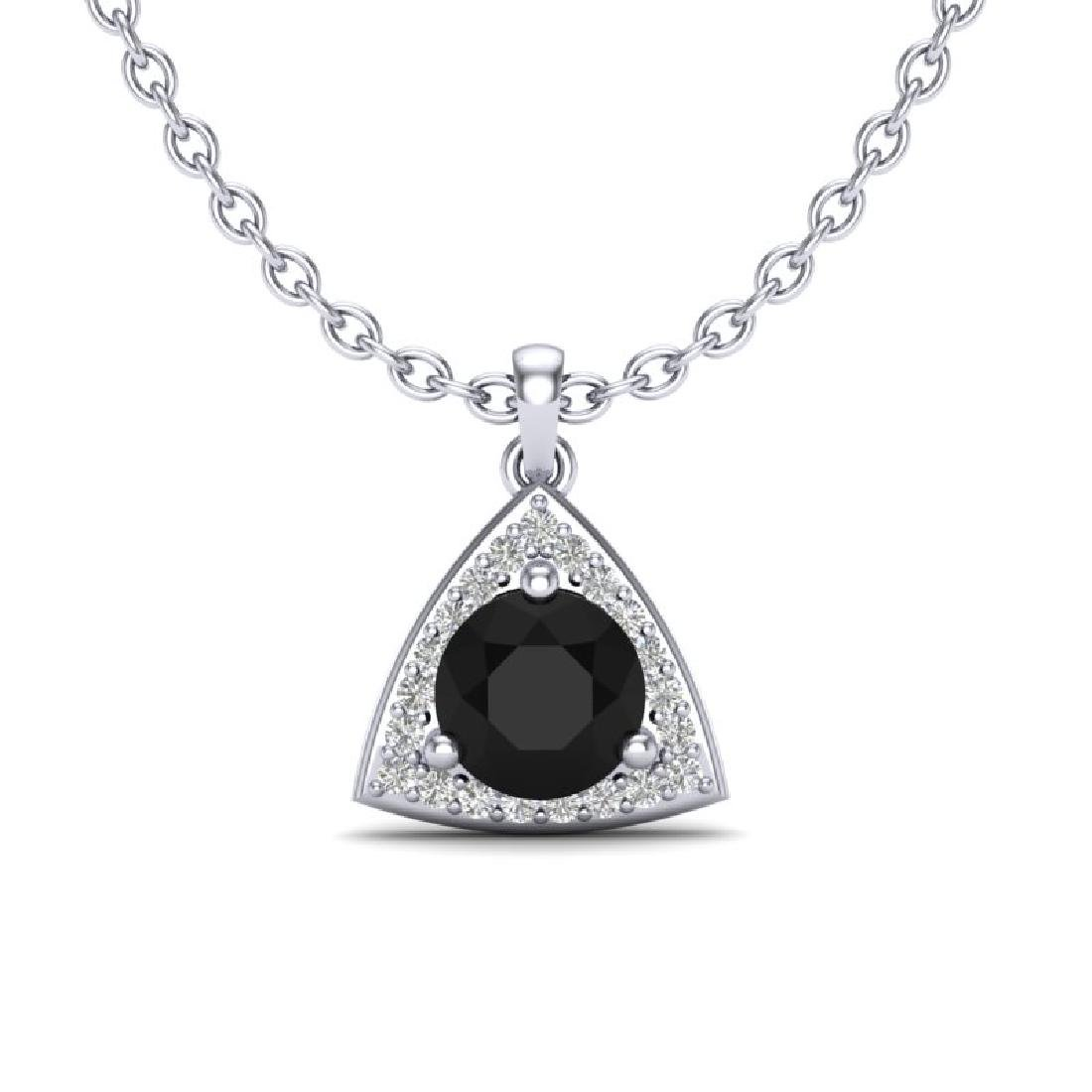 1.75 CTW Micro Pave Halo VS/SI Diamond Necklace 18K