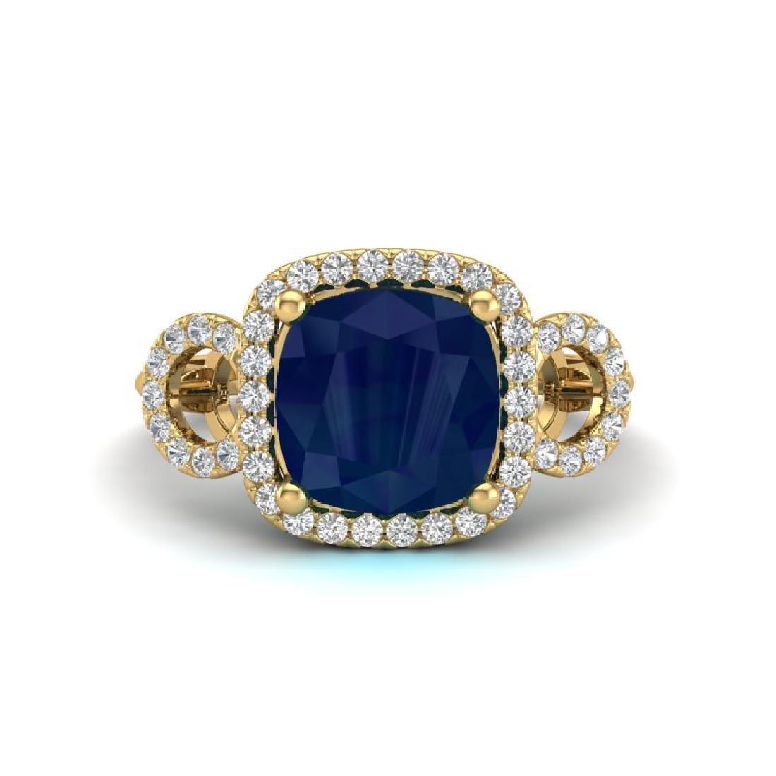 3.15 CTW Sapphire & Micro VS/SI Diamond Ring 18K Yellow