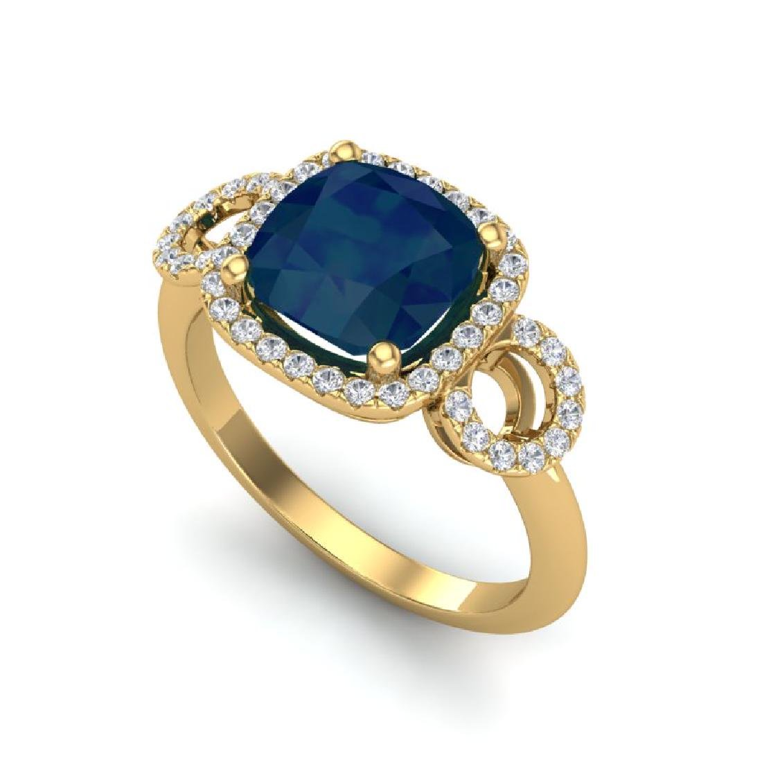 3.15 CTW Sapphire & Micro VS/SI Diamond Ring 18K Yellow - 2
