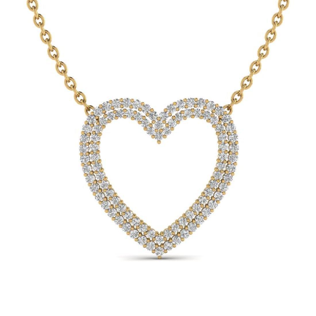 2 CTW VS/SI Diamond Heart Halo Designer Necklace 14K
