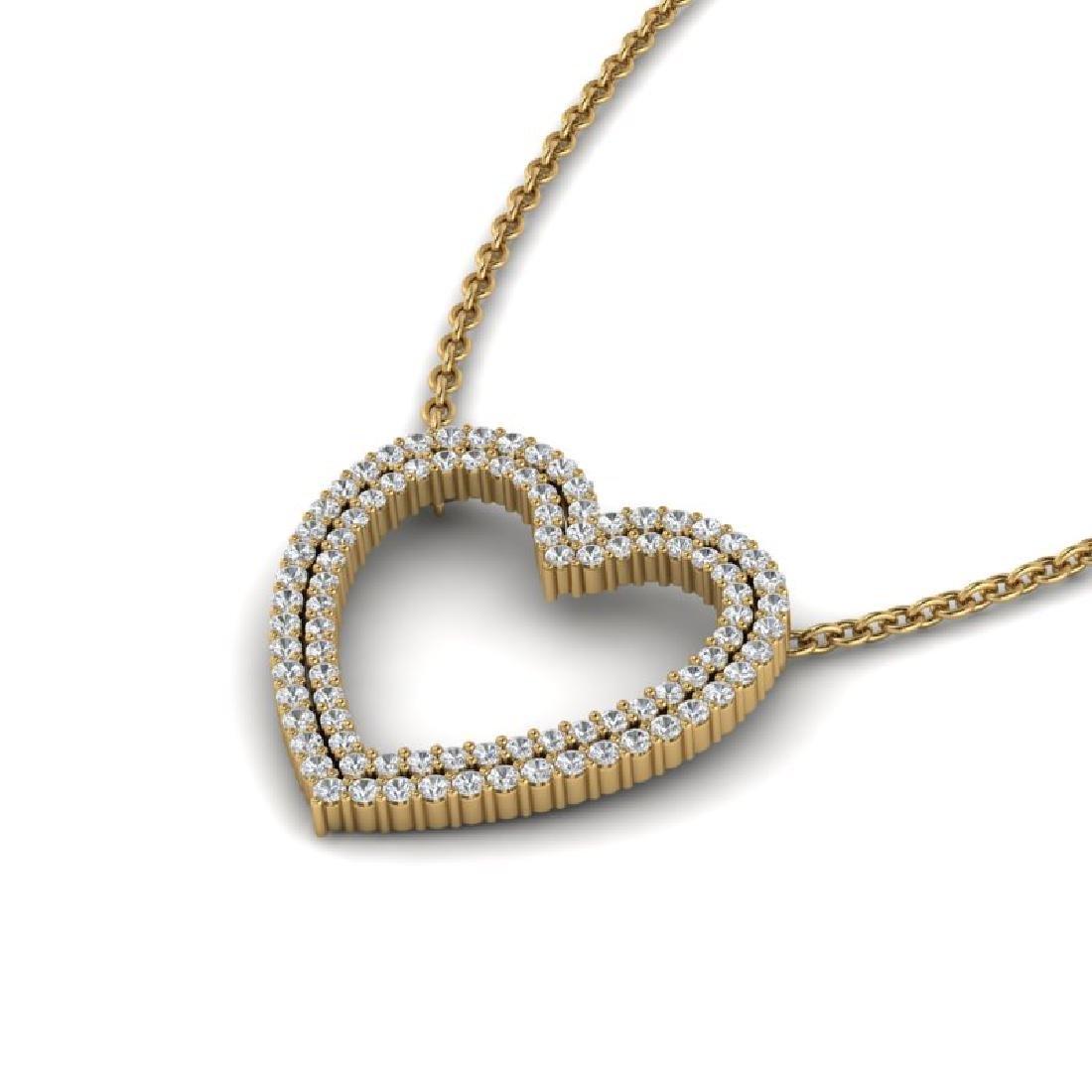 2 CTW VS/SI Diamond Heart Halo Designer Necklace 14K - 2