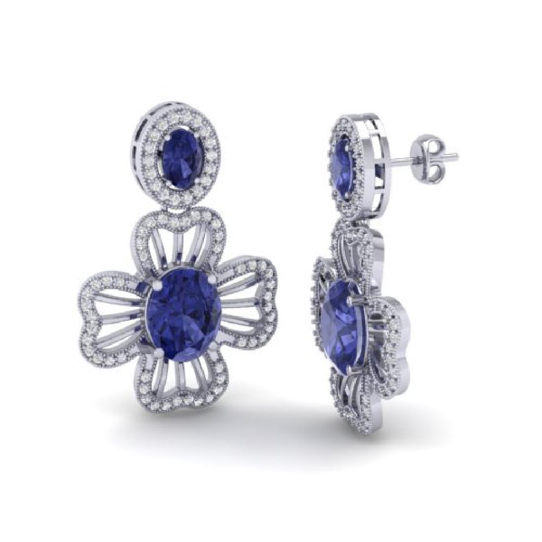 9.26 CTW Tanzanite & Micro Pave VS/SI Diamond Earrings - 2