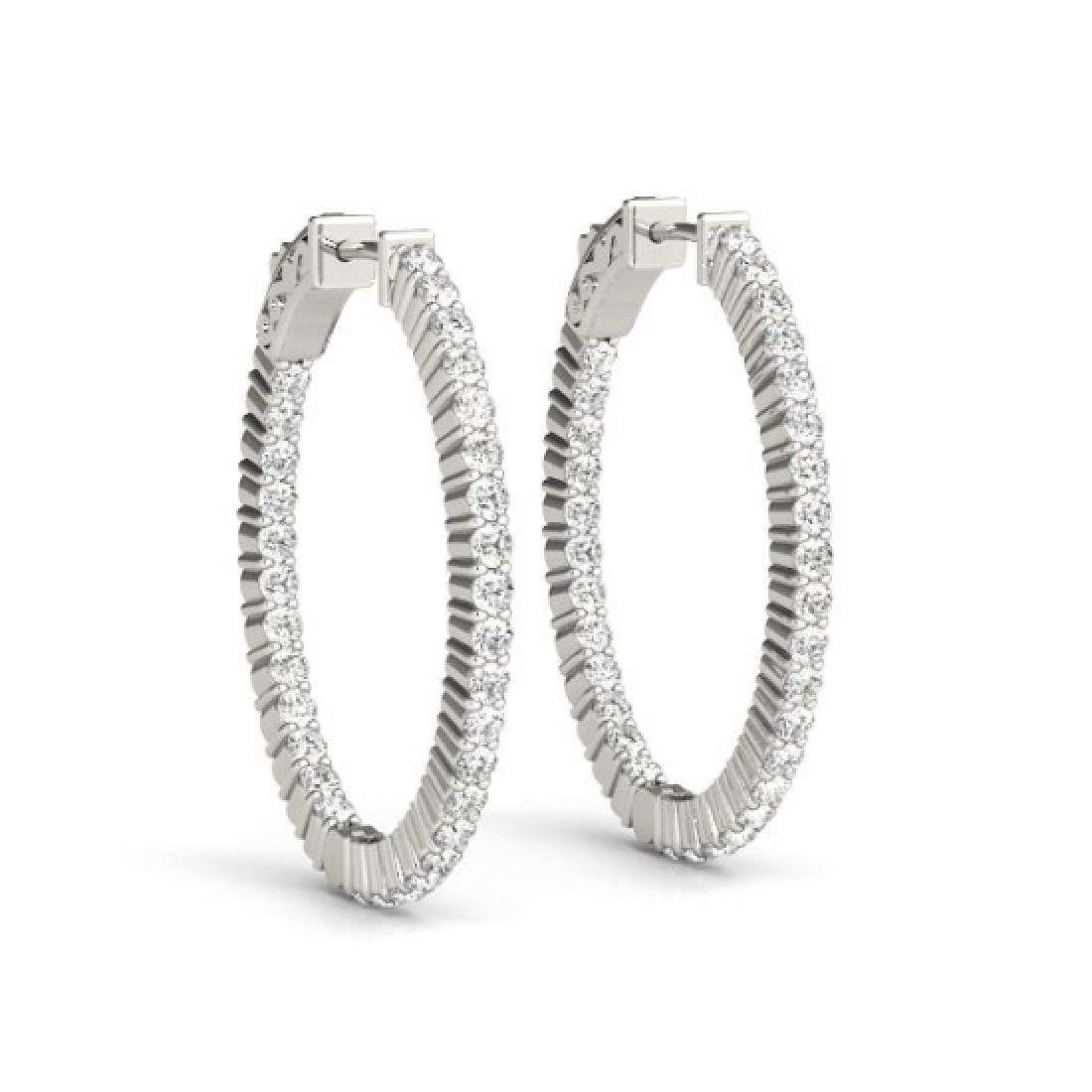 3 CTW Diamond VS/SI Certified 33 Mm Hoop Earrings 14K - 2