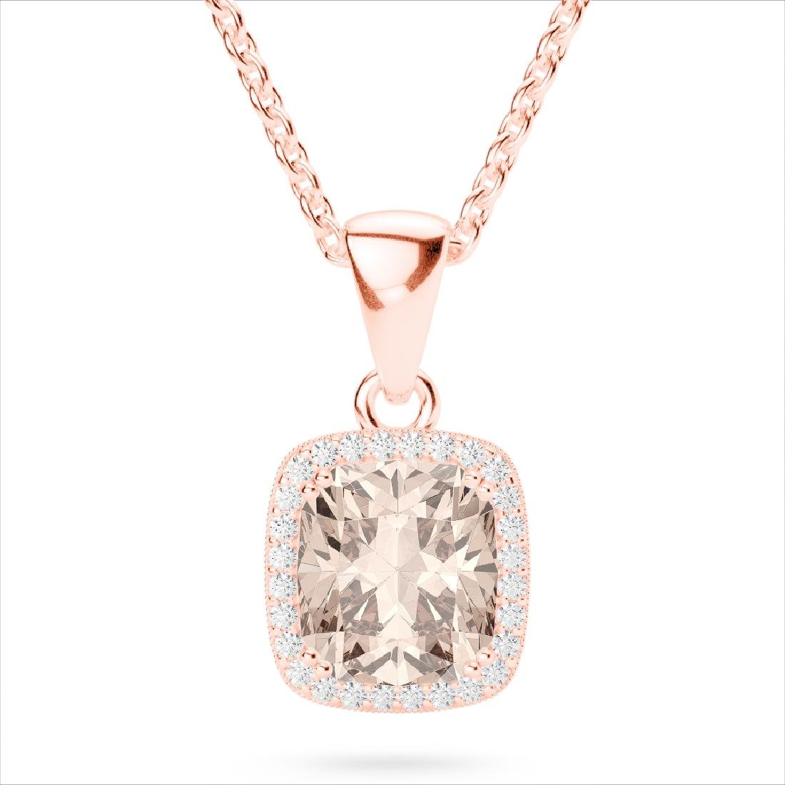 3 CTW Morganite & Micro VS/SI Diamond Pave Halo - 2